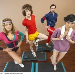 Portrait of People in Step Aerobics Class